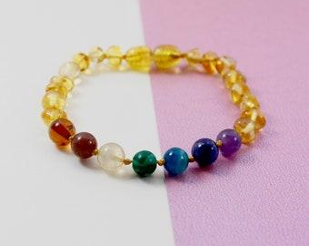 Chakra polished lemon Baltic Amber Anklet / Bracelet
