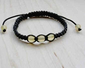 Black Shamballa Bracelet and Amber Lemon Round Beads