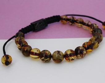 Shamballa amber bracelet, green colour, fashion bracelet, macrame bracelet, great for women and men