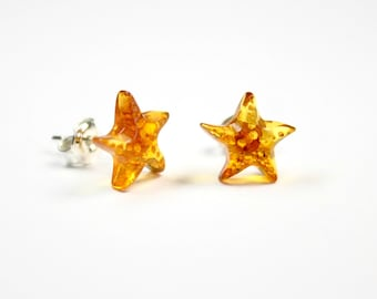 Lot of 5 pair Genuine 100% natural Baltic amber earrings,beautyfull sea star shape, 925 sterling silver stud