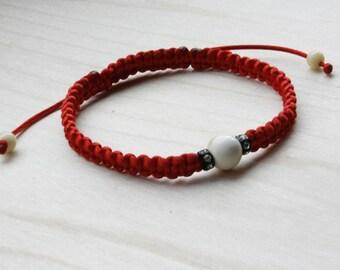Red Macrame Shamballa Kabbalah Bracelet and Round Amber White Beads