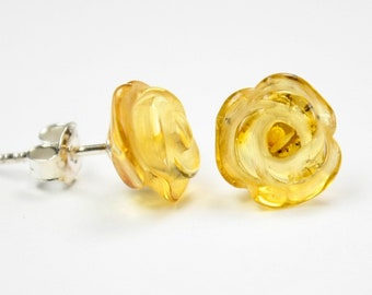 Genuine 100% natural Baltic amber earrings, beautyful flower shape, 925 sterling silver stud