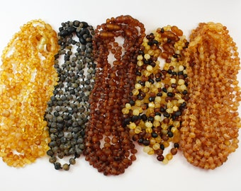 Baltic Amber Baby teething necklaces. Wholesale !!! Genuine Natural Amber rounded Beads. Baroque Amber Style.