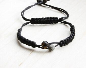 Black Shamballa Bracelet and Amber Green Round Beads