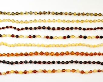 Premium class Round Baltic Amber Baby teething necklaces. Wholesale !!! Genuine Natural Amber Round Beads. Round Amber Style.