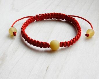 Red Macrame Shamballa Kabbalah Bracelet and Round Amber Yellow Beads