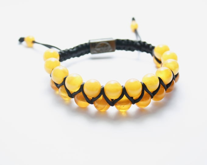 Featured listing image: Macrame Shamballa Amber Bracelet Yellow Colour. Beautiful amber colour design. Perfect gift amber bracelet for him and her.