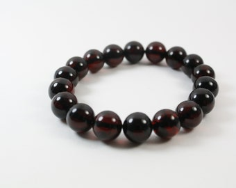 Pure Baltic Amber Round Beads Bracelet. Cherry Colour Design. Genuine Amber Bracelet