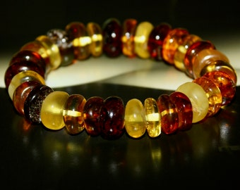 Big Multicolour Amber Bracelet. Fashionable Amber bracelet. Great Gift Amber Bracelet