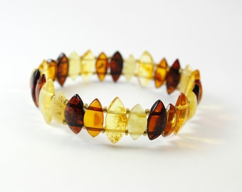 Baltic Amber Multicolour Stretchable Bracelet for Woman. Genuine Amber Bracelet.
