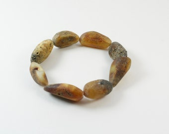Unpolished Amber Bracelet. Pure Amber Bracelet. Green Colour Design Bracelet