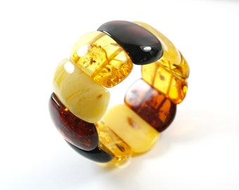 Pure Baltic. Amber Bracelets. Unique colours design. Multicolour amber bracelet. Massive amber bracelet. Genuine Baltic Amber Bracelet.