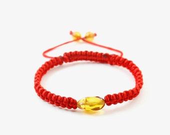 Macrame Shamballa Kabbalah Bracelet and Amber Yellow Beads