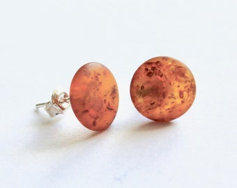 Genuine 100% natural Baltic amber earrings, oval shape, 925 sterling silver stud