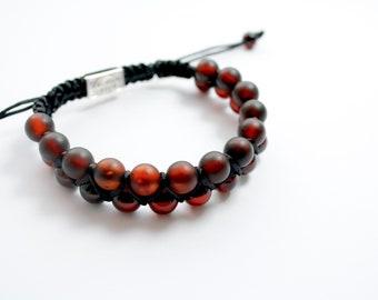 Macrame Shamballa amber bracelet cherry colour, unique pure amber bracelet, unique design, macrame bracelet, carefully selected amber beads