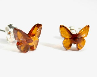 Lot of 5 pairs Real Natural Baltic AMBER cognac Butterfly shape stud earrings on Sterling Silver