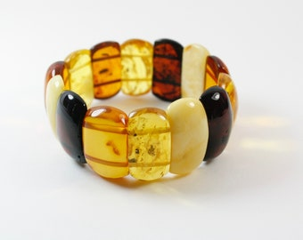 Pure Baltic Amber Bracelet. Authentic Amber Bracelet. Genuine Amber Bracelet. Natural Colour design.