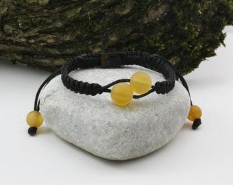 Charming Black Shamballa Bracelet and Yellow Unpolished Round Beads