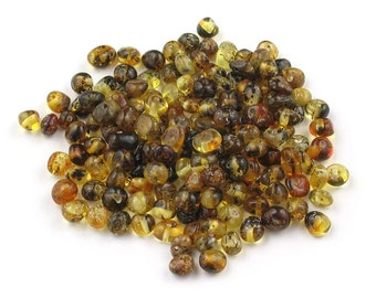 Loose Green Baltic Amber Beads. Baroque Style Beads. Polished Baroque Rounded.