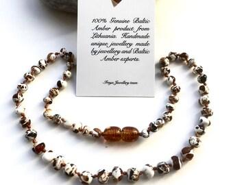 Amber teething necklace - mosaic beads. Baby teething amber necklace.