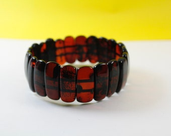 Genuine Baltic Amber Bracelet. Cherry Colour Design. Pure Baltic Bracelet.