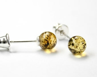 Lot of 5 pair Genuine 100% natural Baltic amber earrings,beautyfull round shape, 925 sterling silver stud
