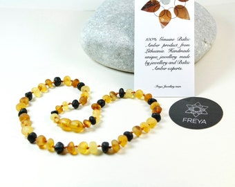 Baltic amber teething necklaces. Raw Amber teething necklace. Multicolour unpolished Baltic amber necklace.