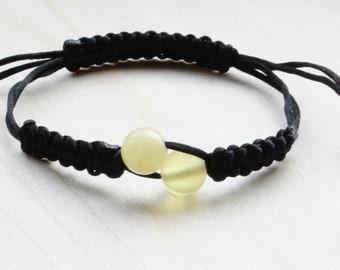 Macrame Shamballa Amber Bracelet Lemon Colour. Perfect amber colour design, Baltic amber bracelet, fashionable bracelet.