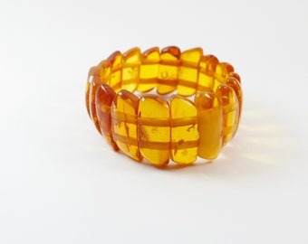 Genuine Baltic Amber Bracelet. Natural Amber colour design. Perfect gift. Pure Baltic Amber Bracelet.