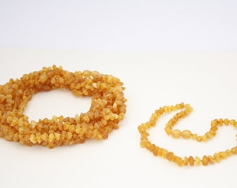 10 pieces of Baby necklaces made of Natural Baltic Amber Raw Honey colour beads.