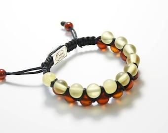 Shamballa Amber Bracelet Lemon-Cognac Colour. Carefully selected amber beads, great gifts, perfect amber design