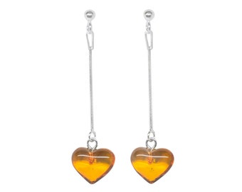 Genuine 100% natural Baltic amber earrings, beautyful heart shape, 925 sterling silver