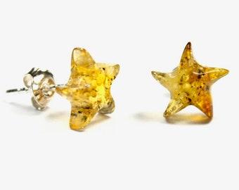 Genuine 100% natural Baltic amber earrings, beautyful sea star shape, 925 sterling silver stud