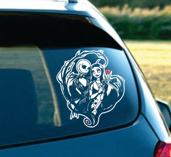 "Jack /& Sally Nightmare Before Christmas Jack kissing Sally Head Decal 6/"" Black"
