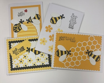 Blank Greeting Cards, Handmade Cards, Bees, Note Card Set, Note Cards with Envelopes, Set of 8