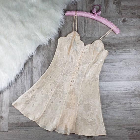 Vintage Victoria's Secret cream satin slip dress S