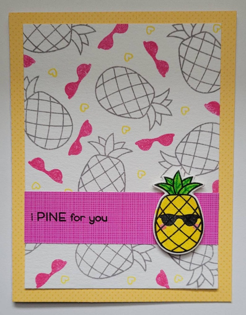 Valentines Day Card I Pine for You Punny Card Pineapple Valentine Card