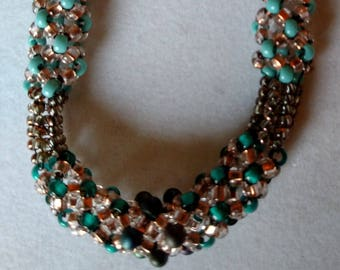 Chenille Beaded Necklace in Turquoise and Copper Tones