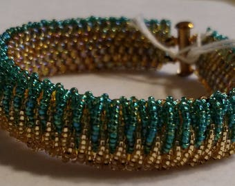 Waterfall Beaded Bracelet in Teal and Gold