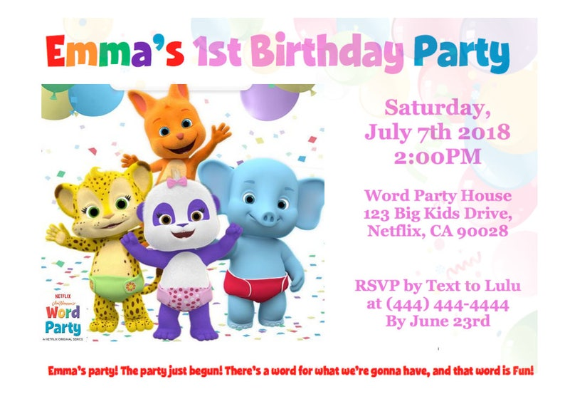 Word Party Birthday Invitation Custom