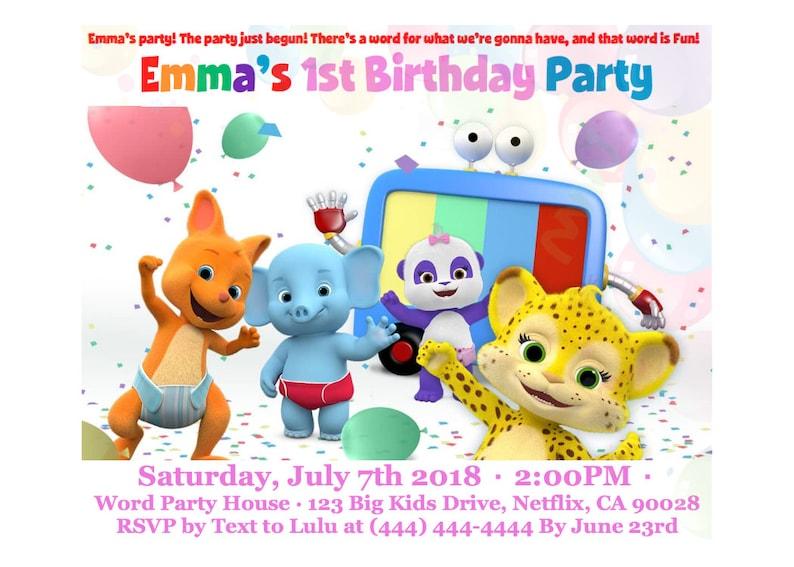 Word Party Birthday Invitation Custom