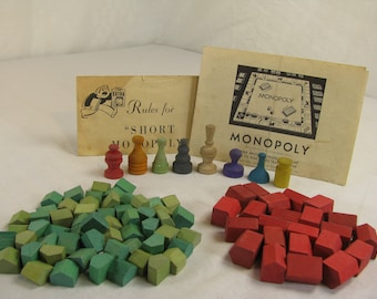 Wood Monopoly Houses Etsy