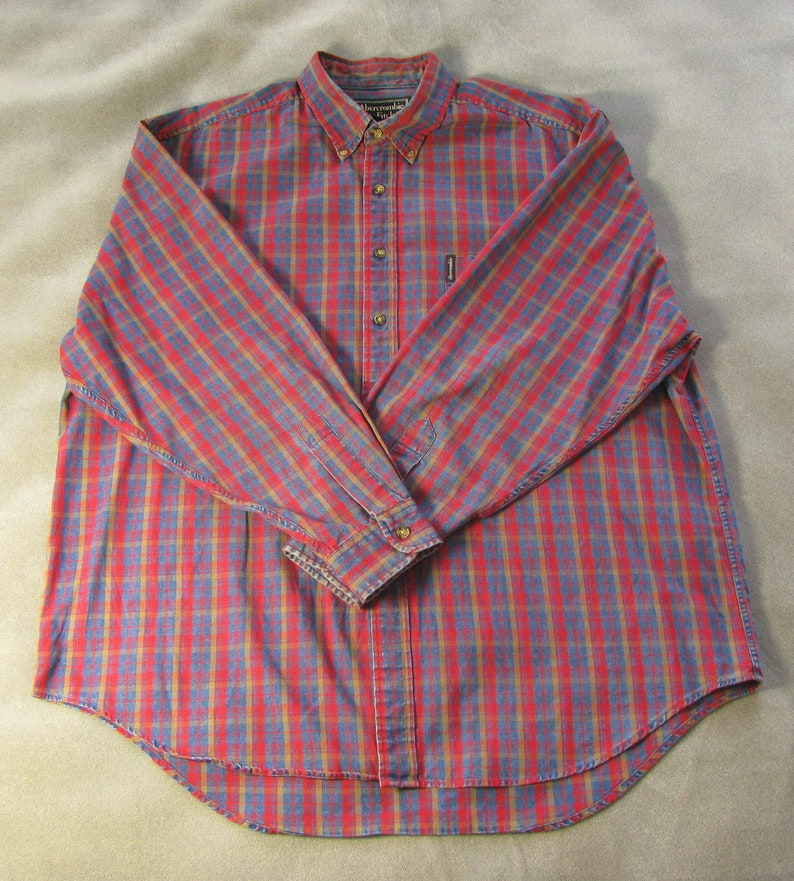 Men's Classic 1990's Blue and Red Plaid Abercrombie & image 0