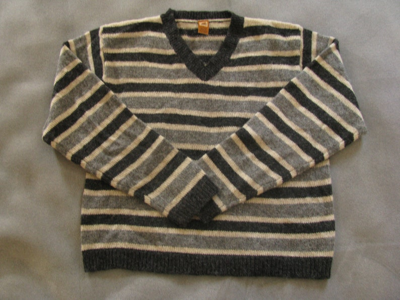 Youth Shetland Wool Sweater with Stripes Youth Large by image 0