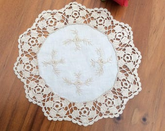 Hand crocheted and Embroidered doily set