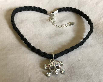 Braided Faux Leather Black Adjustable Choker with Skull and Crossbones Charm