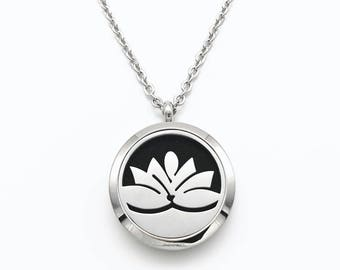Zen Lotus Flower Aromatherapy Essential Oil Necklace Stainless Steel