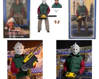 """Chainsaw Clark (Chevy Chase) Christmas Vacation NATIONAL LAMPOONS Neca 8"""" INCH 2017 Retro Figure"""