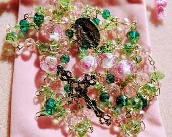 Spring Floral Pink and Green Rosary