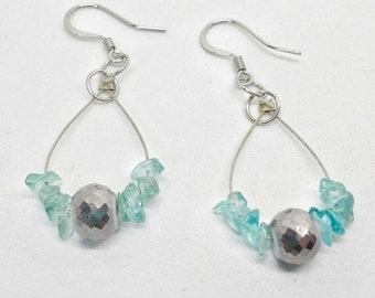Waves. Handmade beaded dangle earrings, apatite, Dangle earrings, Apatite beaded earrings, blue earrings, beach earrings. Dobichaudjewelry